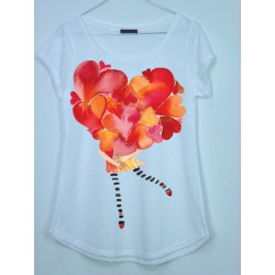 CAMISETA MEDIA MANGA CHICA CORAZON
