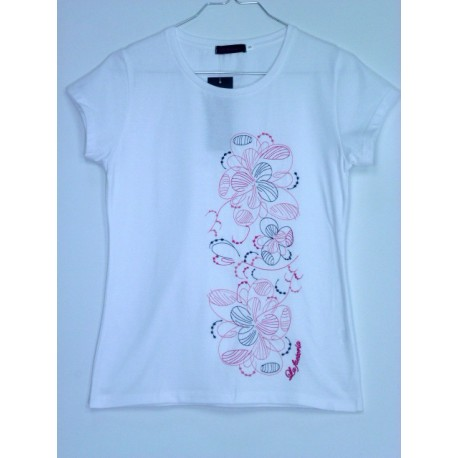 CAMISETA BORDADA FLORES LATERALES