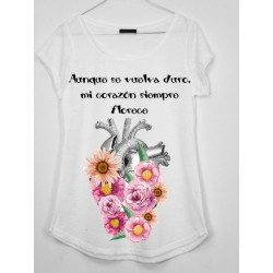 CAMISETA MEDIA MANGA CORAZON CON FLORES