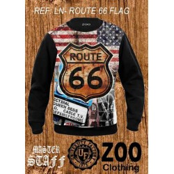 SUDADERA SUBLIMADA LN-ROUTE 66 FLAG