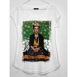 CAMISETA MEDIA MANGA FRIDA FONDO FLORES